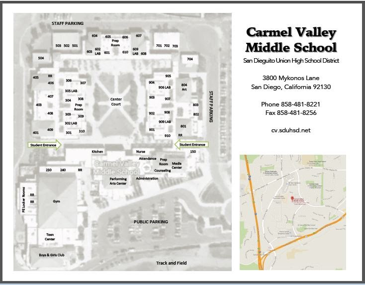 Carmel Valley Middle - Campus Map & Directions on
